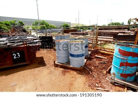 Slag of rust steel in the tank  - stock photo