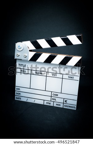 slate clapper board on white background movie tool
