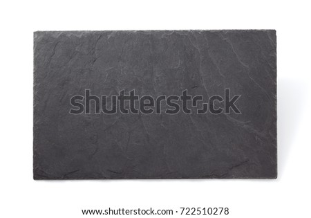 slate stone tray isolated on white background