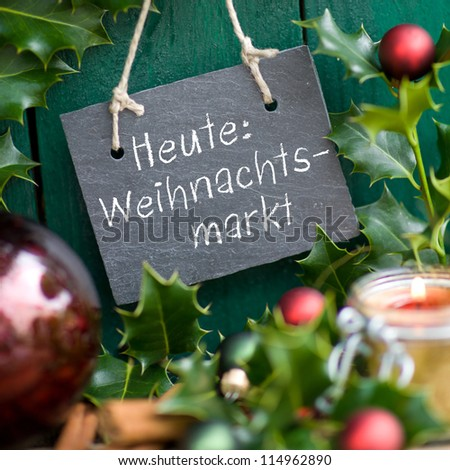 Slate with german text: Christmas market - stock photo