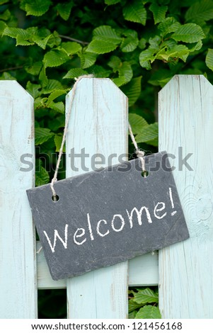 Slate with text: Welcome - stock photo