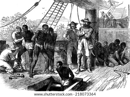 Slavery in Africa. The Treaty, vintage engraved illustration. Journal des Voyage, Travel Journal, (1880-81). - stock photo