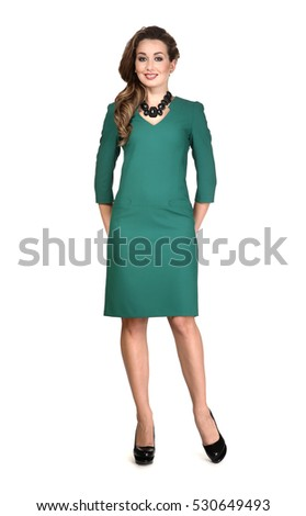 Popular Business Executive Woman With Straight Hair Style In Office Blue Dress