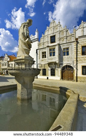 Slavonice - view to square with a fountain - Czech republic - stock photo