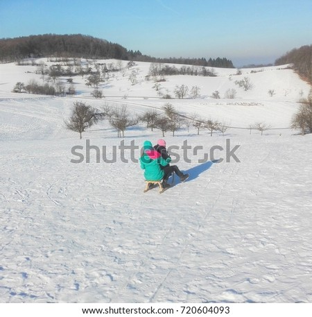 Sledge in a winter landscape