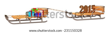 sledge, year, new year, gifts, 2014, 2015, isolated on white background. 3d - stock photo