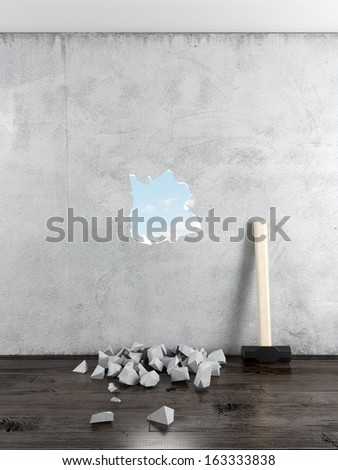 Sledgehammer and wall with hole - stock photo