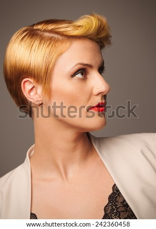 Sleek hairstyle for the corporate woman - stock photo