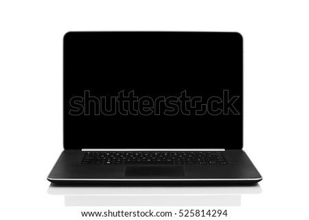 Sleek modern laptop with blank black screen, front view and isolated on white background with reflection