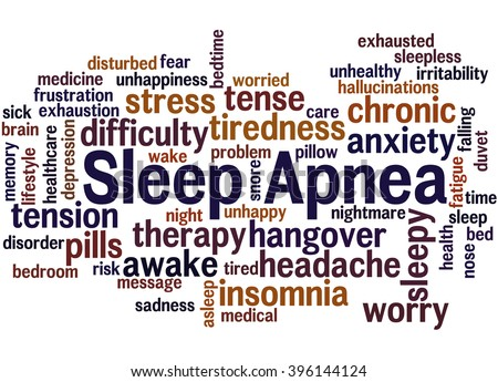 Sleep Apnea, word cloud concept on white background.