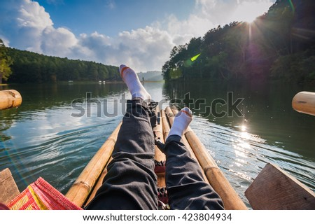 Sleep comfortably aboard bamboo reservoir in almost rural. - stock photo