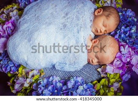 Sleep of the newborns on the bed with purple flowers - stock photo