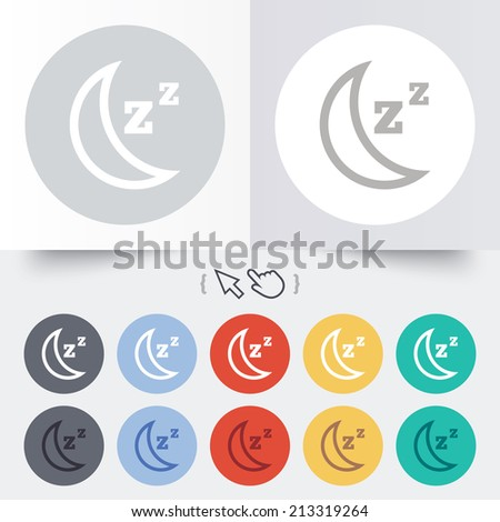 Sleep sign icon. Moon with zzz button. Standby. Round 12 circle buttons. Shadow. Hand cursor pointer.