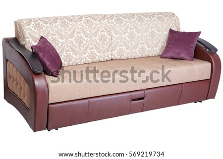 sleeper convertible sofa bed couch with storage space isolated on white background saved path
