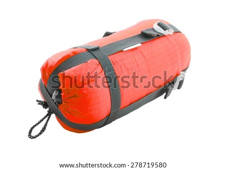 Sleeping bag packed on white background