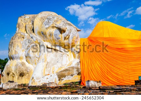 Sleeping buddha from Ayutthaya temple in Thailand