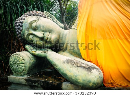 Sleeping Buddha. Temple of Buddha in Buriram, Thailand - stock photo