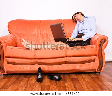 Sleeping business woman - stock photo