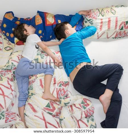 sleeping children relax resting boys - stock photo