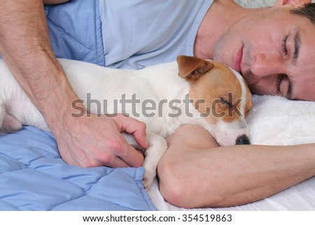 Sleeping dog and owner.