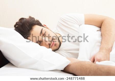 Sleeping man - stock photo