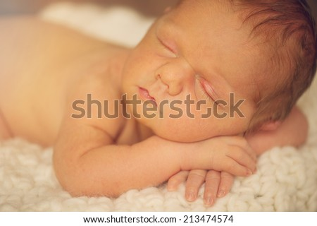 Sleeping Naked Newborn Baby - portrait