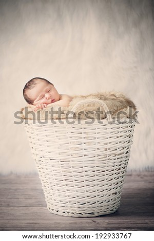 Sleeping Newborn Baby in Basket on Wooden Floor