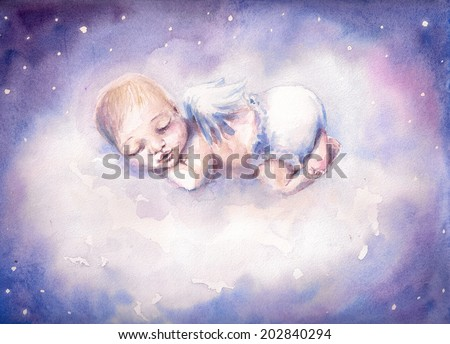 Sleeping newborn baby with angel wings.Picture created with watercolors - stock photo
