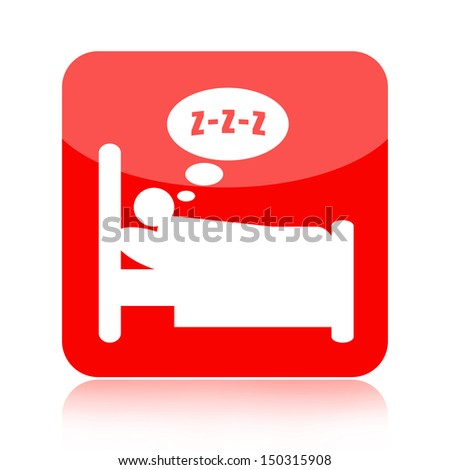 Sleeping person in bed icon - stock photo