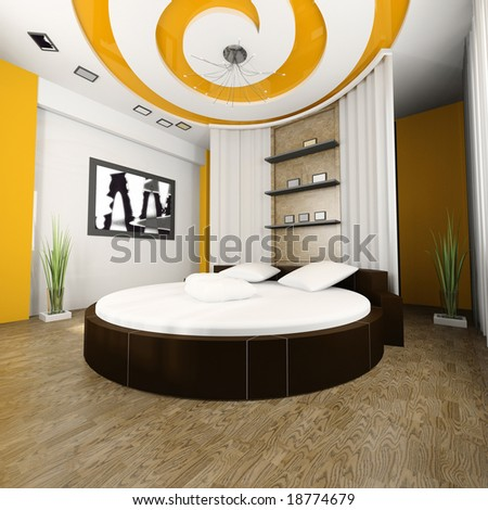 Sleeping room with a round bed 3d image - stock photo