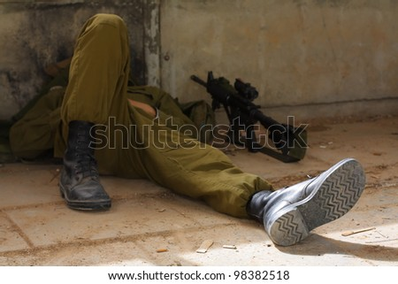 sleeping soldier - stock photo