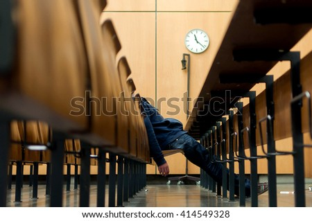 Sleeping Student - stock photo