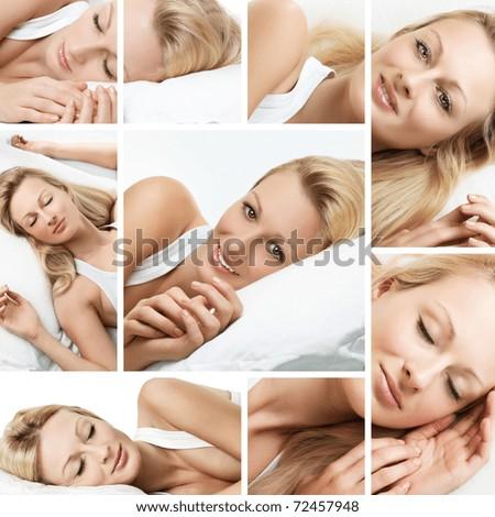 Sleeping woman collage. - stock photo