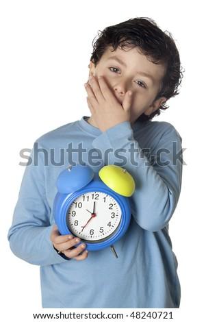 Sleepy boy with wake up isolated on white background - stock photo