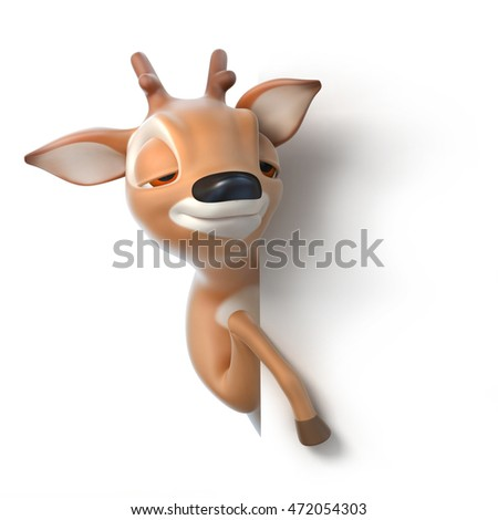 sleepy cartoon deer looks out from behind a paper, 3d render