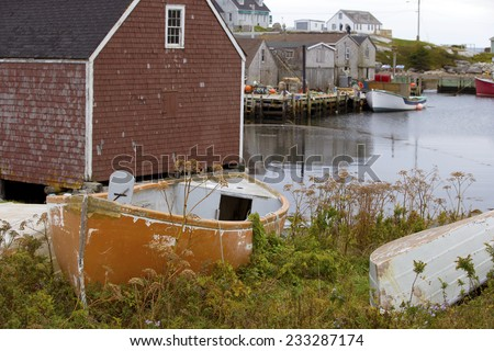 Sleepy fishing village of Peggy Cove, Nova Scotia - stock photo