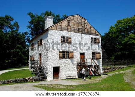 Sleepy Hollow, NY - July 10, 2009:  Historic c. 1750 stone and wooden manor house built by Frederick Philipse at Philipsburg Manor - stock photo