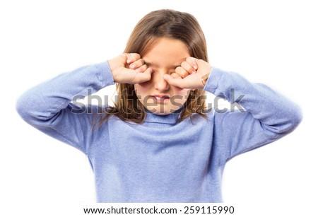 Sleepy little girl against white background  - stock photo