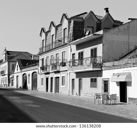 Sleepy street of Evora - Alentejo, Portugal (black and white) - stock photo