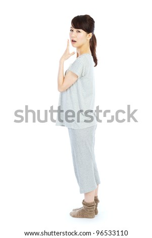Sleepy young woman. Portrait of asian woman.
