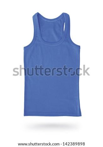 Sleeveless shirt isolated on white background - stock photo