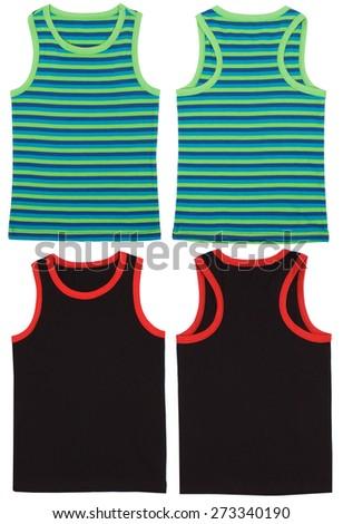 Sleeveless unisex shirts front and back view. Isolated on white background. - stock photo