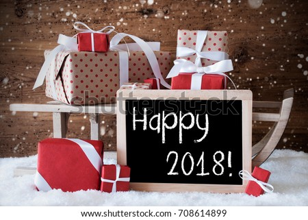 Sleigh With Gifts, Snow, Snowflakes, Text Happy 2018