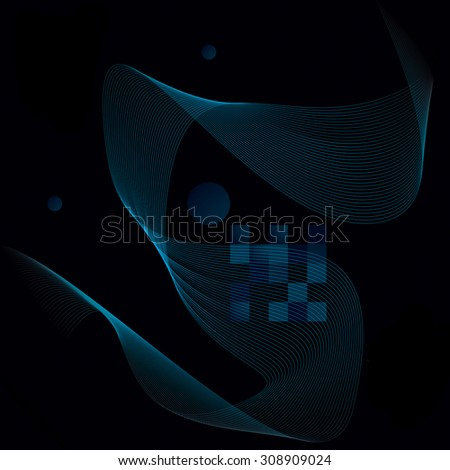 Slender 3d textile motif background, curved stripy flowing lines, relax aerial composition, illustration. - stock photo