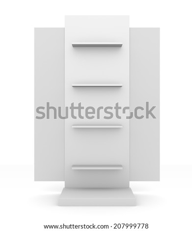 slender white shelves from front with wings - stock photo