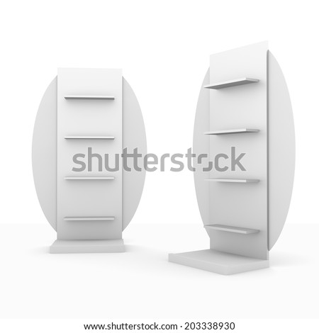 slender white shelves fron front and side with circular wings - stock photo