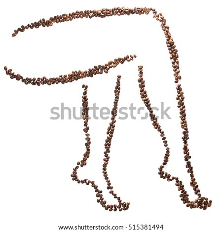 Slender woman legs silhouette of coffee beans isolated on white background. Concept  weight loss and beautiful figure