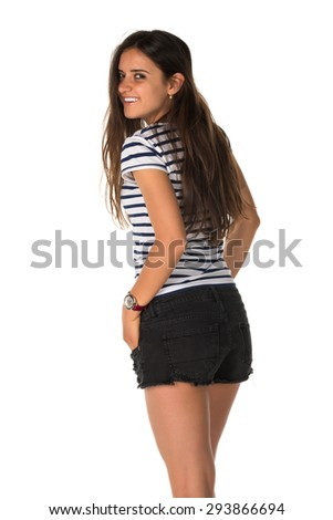 Slender young Romanian woman in a striped tee shirt - stock photo