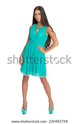 Slender young woman isolated on white background.