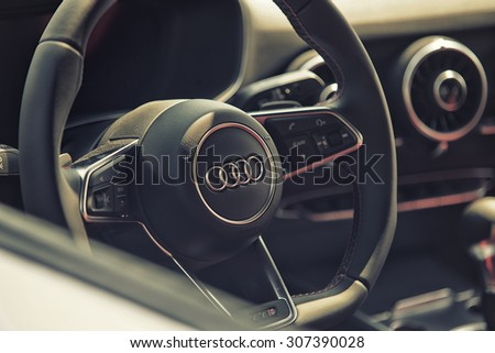 Sleza, Poland, August 15, 2015: Close up on Audi cockpit and wheel on  Motorclassic show on August 15, 2015 in the Poland - stock photo